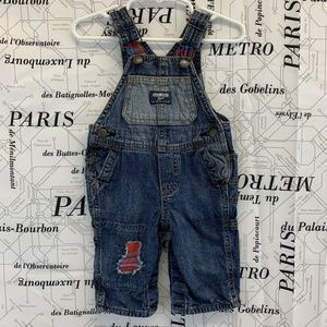 Oshkosh Boys Solid Blue Overalls Red Plaid Accents